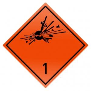 "Наклейка (знак) ""Класс 1.1,1.2,1.3"" Взрывчатые вещества, 300х300мм"