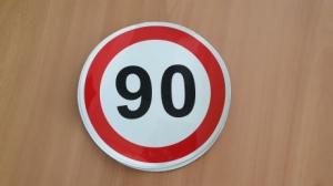 "Наклейка ""90"" км/ч 300х300мм"