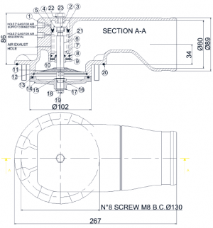 Клапан отвода паров Tecnometal 44.00.00-E/S